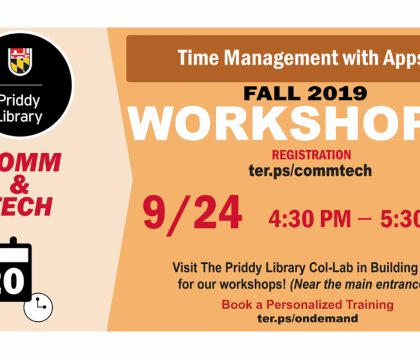 Fall 2019 Workshops: Time Management with Apps