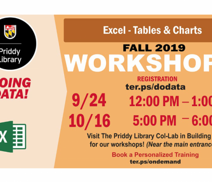 Fall 2019 Workshops: Excel - Tables & Charts