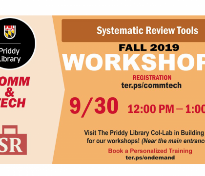 Fall 2019 Workshops: Systematic Review Tools