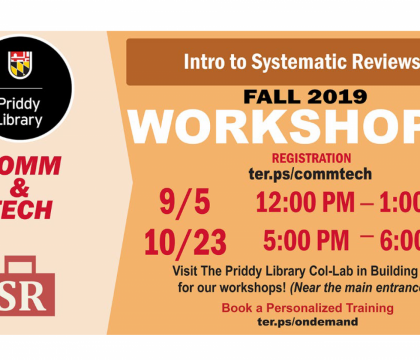 Fall 2019 Workshop: Intro to Systematic Reviews