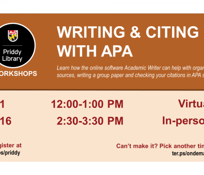 Writing & Citing with APA workshop flyer