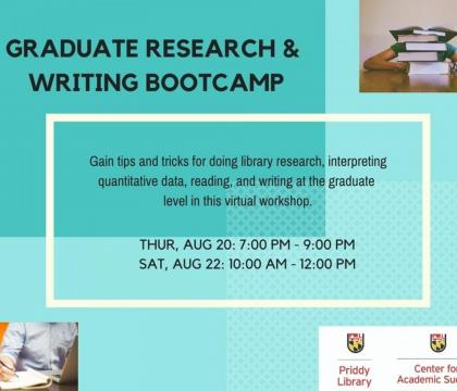 Graduate Research and Writing Bootcamp Flyer