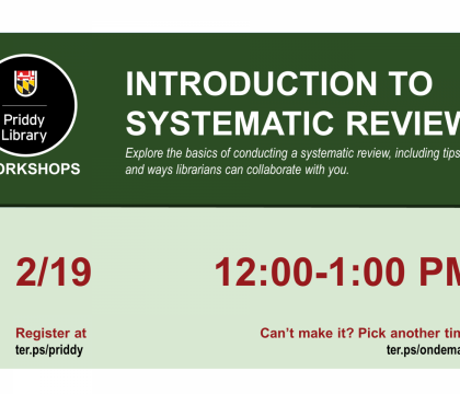 Introduction to Systematic Reviews Workshop Flyer
