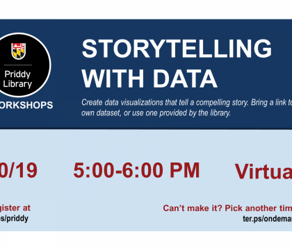 Storytelling with Data workshop flyer, October 19, 5:00 - 6:00 pm, virtual