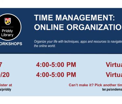 Time Management: Online Organization Workshop flyer, 9/7 4:00 - 5:00 pm, virtual