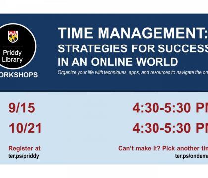 Time Management: Strategies for Success in an Online World Workshop Flyer