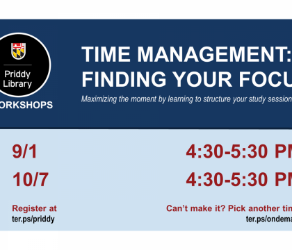 Time Management: Finding Your Focus Workshop Flyer