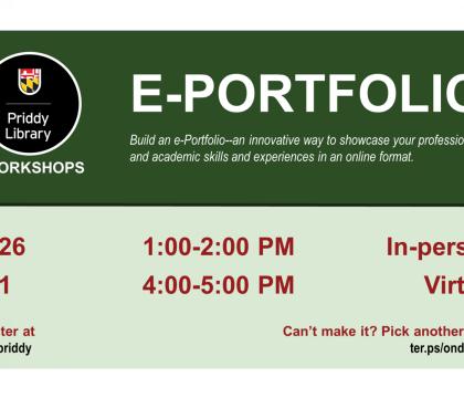 e-Portfolio workshop flyer- virtual, October 26, 1:00 - 2:00 pm