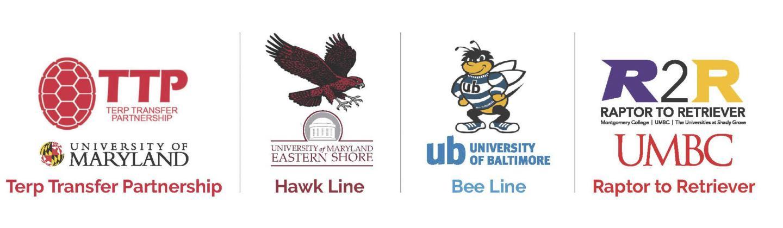 Transfer Access Programs: TTP (UMD)   Hawk Line (UMES)   Bee Line (UB)   R2R (UMBC).