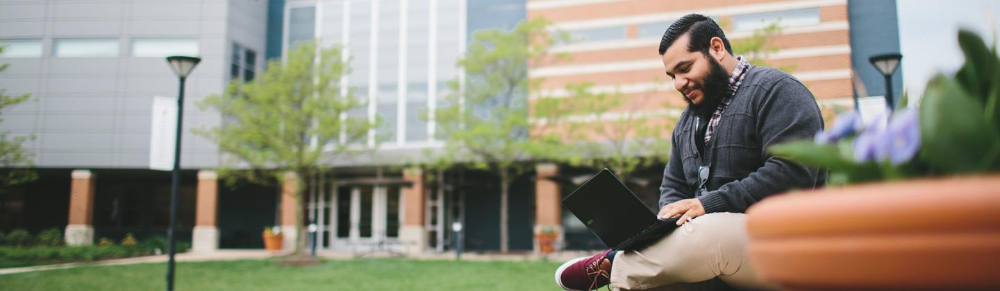 Student Outside Studying
