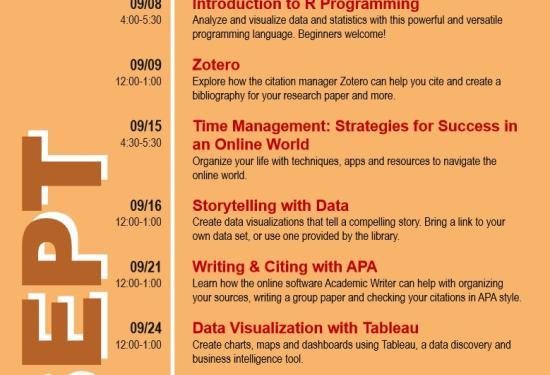 September Library Workshops