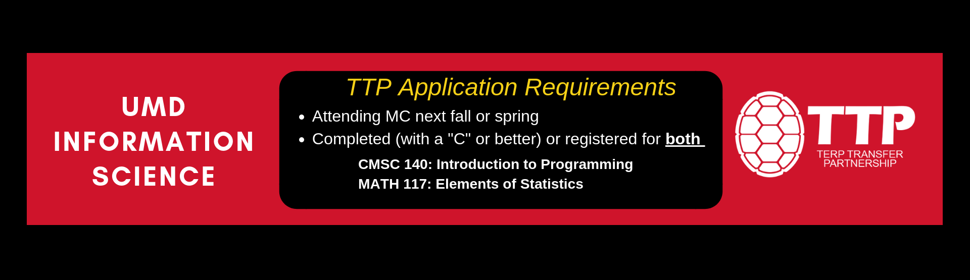 Terp Transfer Partnership (TTP) Program: Information Science App Requirements: Attending MC next fall, Registered for or completed CMSC 140 and MATH 117